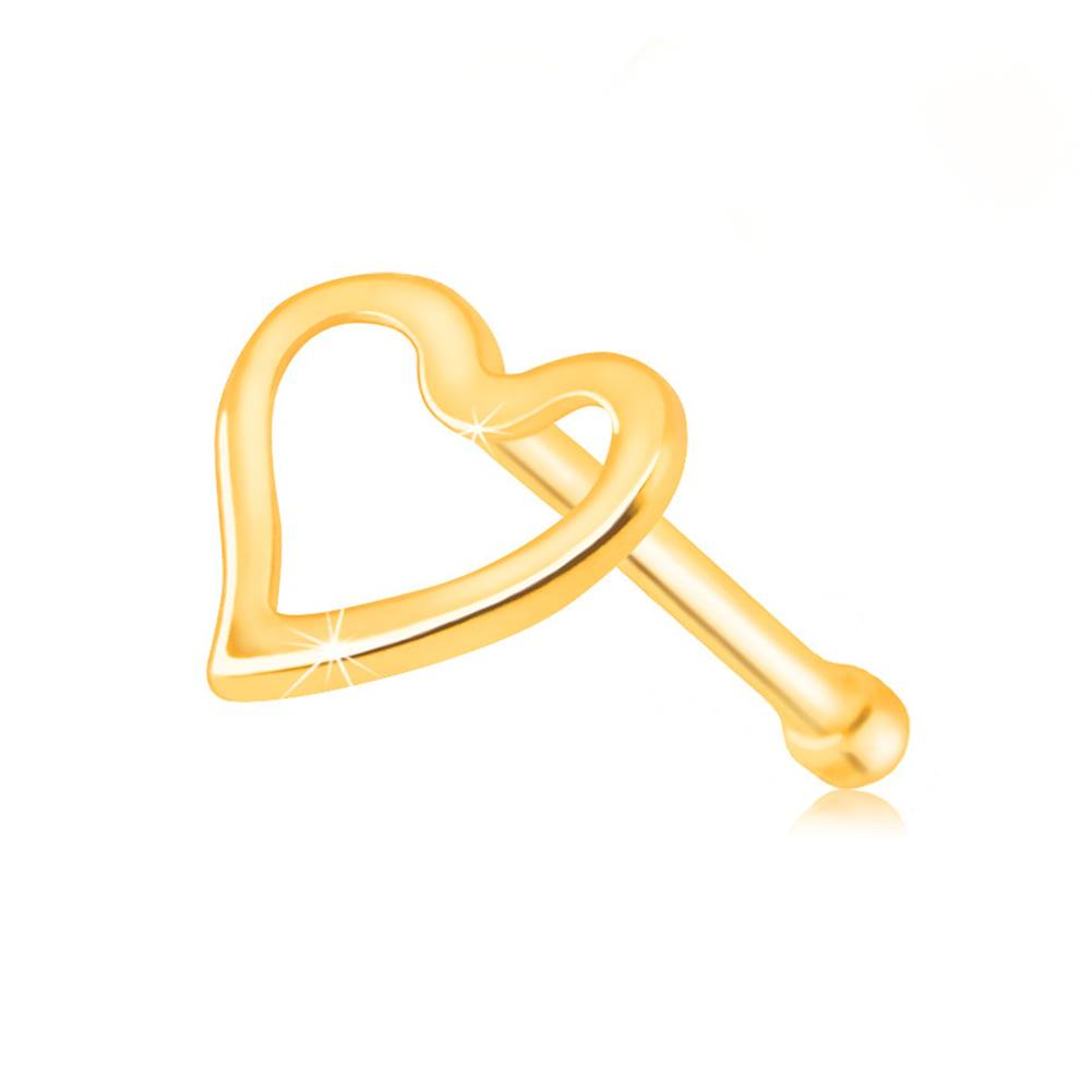 Šperky eshop Piercing do nosa v žltom zlate 585 - lesklá kontúra nepravidelného srdiečka
