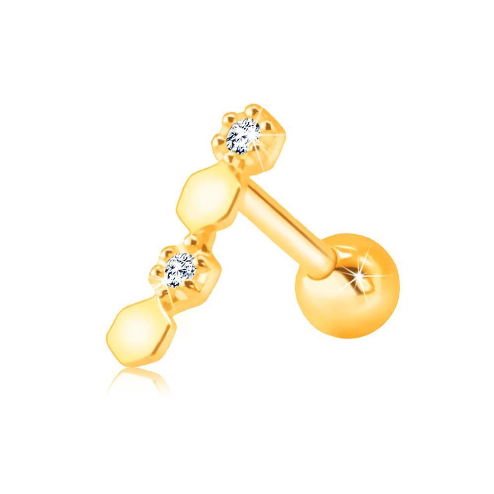 Šperky eshop Piercing v žltom 9K zlate do brady alebo pery - číre zirkóniky v objímke