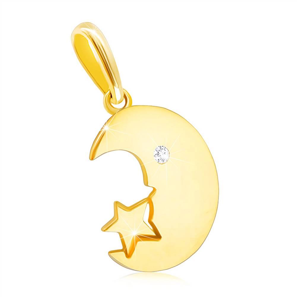 Šperky eshop Prívesok v žltom 14K zlate - mesiačik so zirkónovým očkom a hviezdička