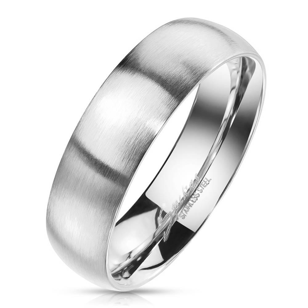 Šperky eshop Prsteň z ocele v striebornom farebnom odtieni - matný povrch, 6 mm - Veľkosť: 49 mm