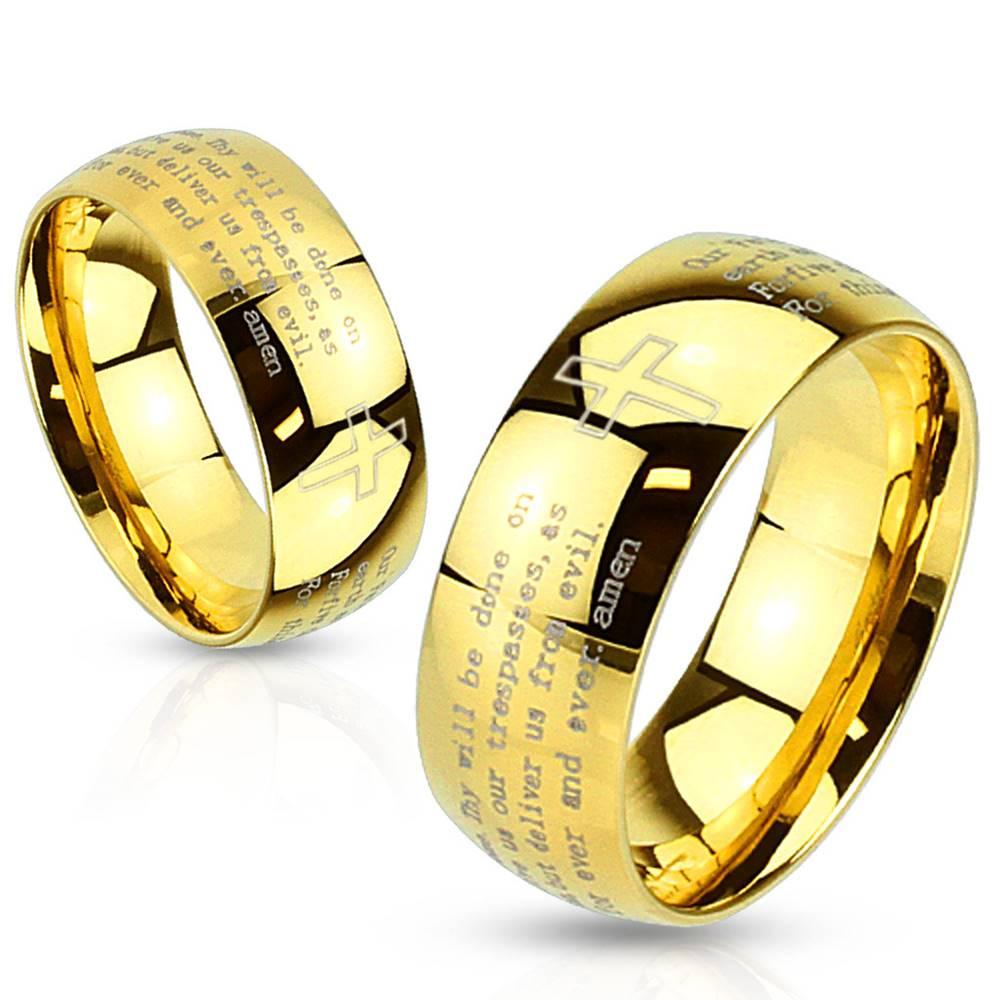 Šperky eshop Prsteň z ocele zlatej farby - modlitba Otčenáš a krížik, 8 mm - Veľkosť: 59 mm