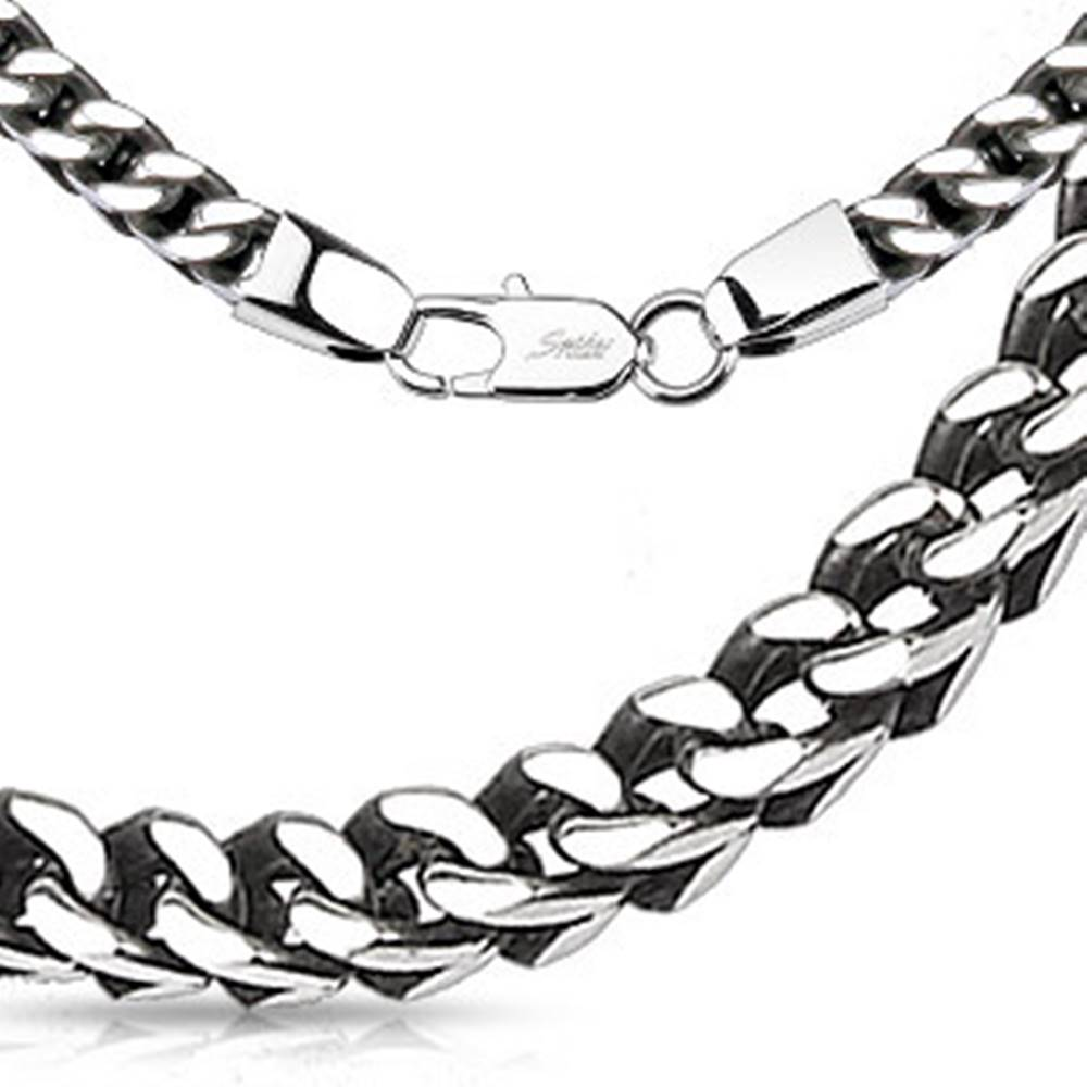 Šperky eshop Retiazka z ocele v striebornej farbe - lesklé očká vytvárajúce hranatý tvar