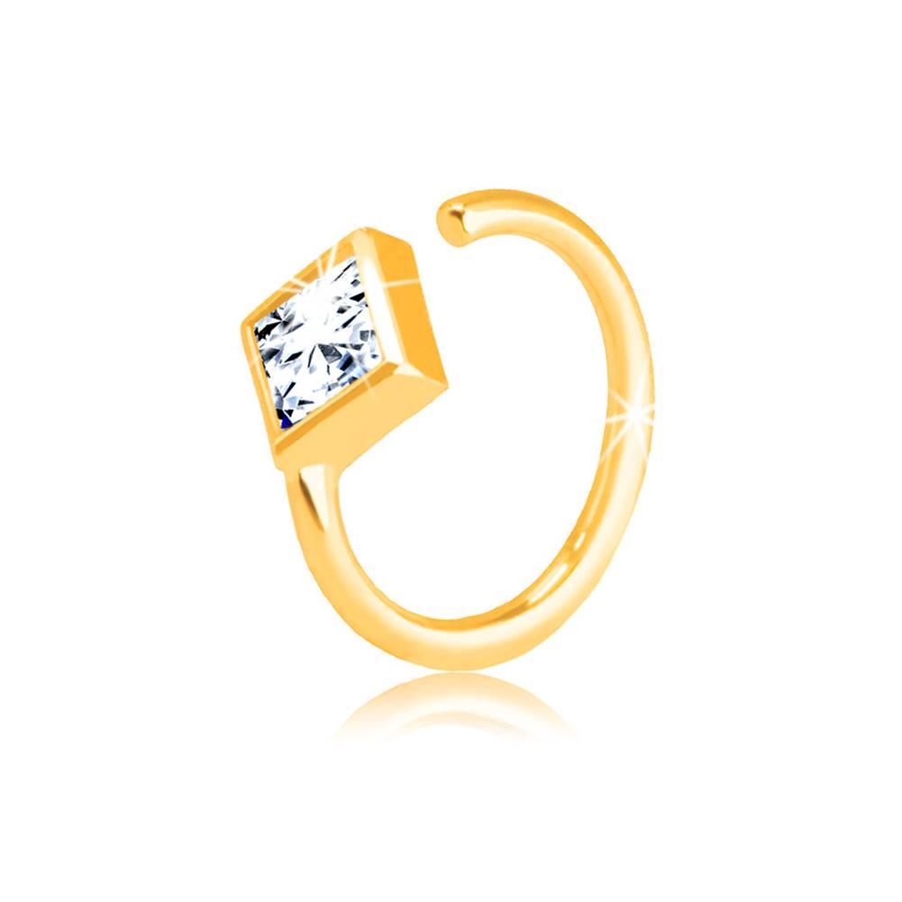 Šperky eshop Zlatý 585 piercing - malý krúžok ukončený zirkónovým kosoštvorcom