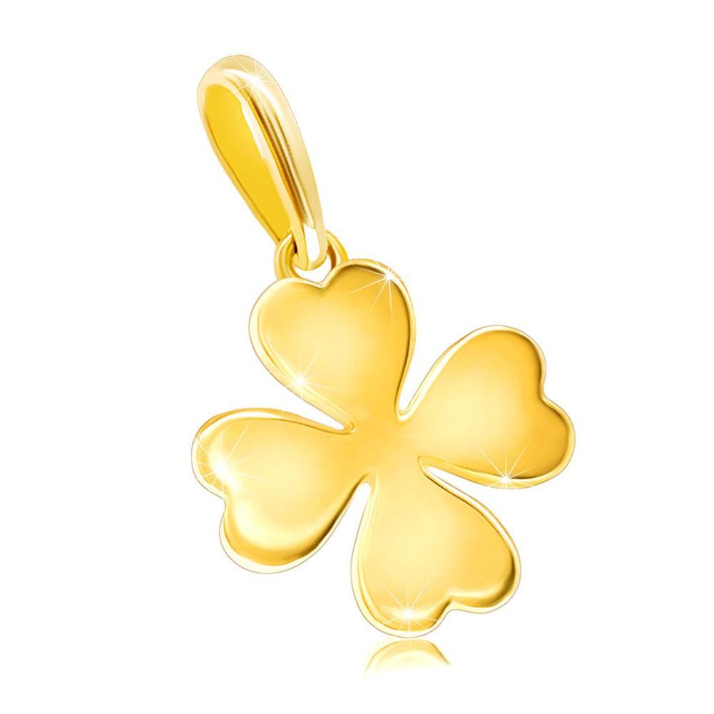 Šperky eshop Zlatý 585 prívesok - lesklý štvorlístok so srdiečkovými lístkami