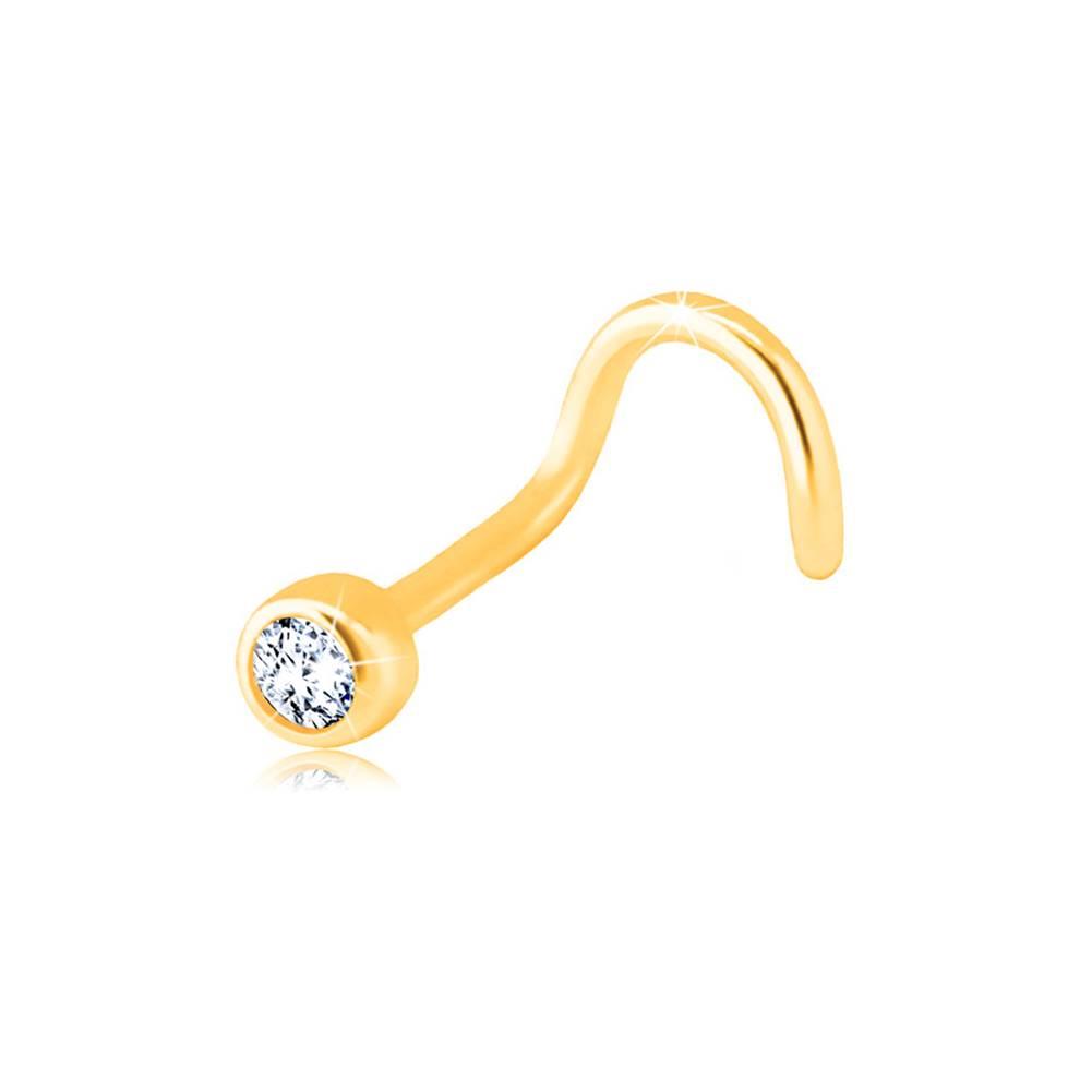 Šperky eshop Zlatý 585 zahnutý piercing do nosa - číry ligotavý zirkón v objímke