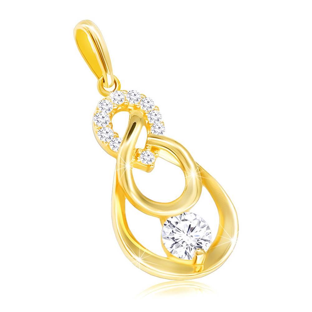 Šperky eshop Zlatý prívesok 585 - opačná zirkónová slzička, kontúra slzy s čírym zirkónom